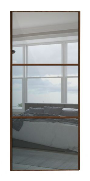 Wideline sliding wardrobe door, Walnut frame/ Mirror